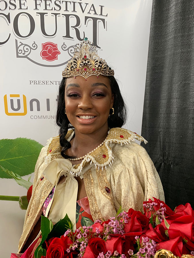 Mya Brazile, a senior at St. Mary's Academy in Portland, beams after being named the 2019 Rose Festival queen. (Courtesy Portland Rose Festival Foundation)